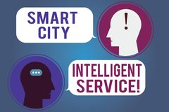 Word writing text Smart City Intelligent Service. Business concept for Connected technological modern cities Messenger. Room with Chat Heads Speech Bubbles royalty free illustration