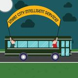 Word writing text Smart City Intelligent Service. Business concept for Connected technological modern cities Two Kids. Inside School Bus Holding Out Banner with royalty free illustration