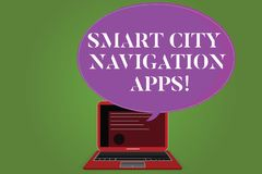 Word writing text Smart City Navigation Apps. Business concept for Connected technological advanced modern cities. Certificate Layout on Laptop Screen and Blank stock illustration