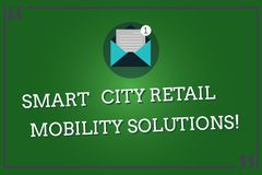Word writing text Smart City Retail Mobility Solutions. Business concept for Connected technological modern cities Open Envelope. With Paper New Email Message royalty free illustration