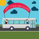 Word writing text Smart City Retail Mobility Solutions. Business concept for Connected technological modern cities Two Kids Inside. School Bus Holding Out stock illustration