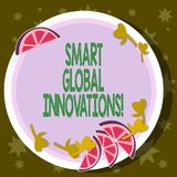 Word writing text Smart Global Innovations. Business concept for capability of firms to create new opportunities Cutouts. Of Sliced Lime Wedge and Herb Leaves royalty free illustration
