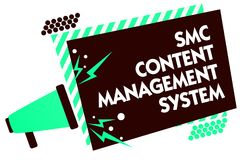Word writing text Smc Content Management System. Business concept for mangae creation and modification of posts Megaphone loudspea. Ker green striped frame Stock Images