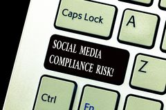 Word writing text Social Media Compliance Risk. Business concept for Risks analysisagement on the internet online royalty free stock photography