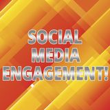 Word writing text Social Media Engagement. Business concept for Communicating in an online community platforms Slanting and. Overlapping Color of Rectangular royalty free illustration