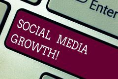 Word writing text Social Media Growth. Business concept for marketing is obtained by value of internet and tv Keyboard royalty free stock image