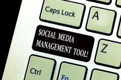 Word writing text Social Media Management Tool. Business concept for Application for analysisage your online networks. Keyboard key Intention to create computer royalty free stock image