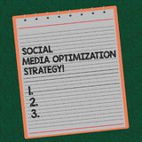 Word writing text Social Media Optimization Strategy. Business concept for SEO Advertising Marketing strategies Lined. Spiral Top Color Notepad photo on stock photo