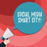 Word writing text Social Media Smart City. Business concept for Connected technological advanced modern cities Hu analysis Hand. Holding Megaphone Blank Round royalty free illustration