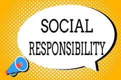 Word writing text Social Responsibility. Business concept for Obligation for the Benefit of Society Balance in life vector illustration