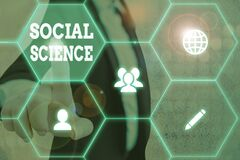 Word writing text Social Science. Business concept for scientific study of huanalysis society and social relationships