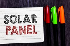 Word writing text Solar Panel. Business concept for designed to absorb suns rays source of energy generating Notebook paper colorf. Ul markers wooden background royalty free stock photography