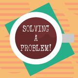 Word writing text Solving A Problem. Business concept for include mathematical or systematic operation find solution Top. View of Drinking Cup Filled with royalty free illustration