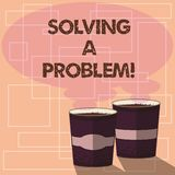 Word writing text Solving A Problem. Business concept for include mathematical or systematic operation find solution Two. To Go Cup with Beverage and Steam icon vector illustration