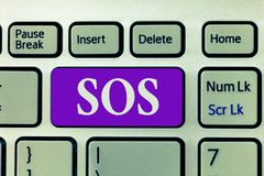 Word writing text Sos. Business concept for Urgent appeal for help International code signal of extreme distress.  royalty free stock images