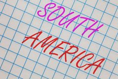 Word writing text South America. Business concept for Continent in Western Hemisphere Latinos known for Carnivals Notebook squared. Page scholar background stock images
