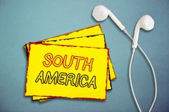 Word writing text South America. Business concept for Continent in Western Hemisphere Latinos known for Carnivals.  royalty free stock image