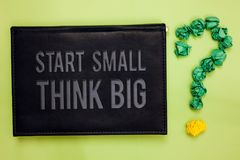 Free Word Writing Text Start Small Think Big. Business Concept For Initiate With Few Things Have Something Great In Mind Green Back Bla Royalty Free Stock Photography - 121975427