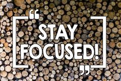 Word writing text Stay Focused. Business concept for Maintain Focus Inspirational Thinking Wooden background vintage. Word writing text Stay Focused. Business stock photography