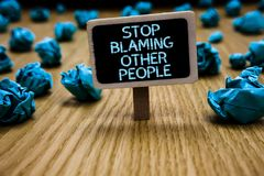 Word writing text Stop Blaming Other People. Business concept for Do not make excuses assume your faults guilt Paperclip royalty free stock image