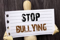 Word, writing, text Stop Bullying. Conceptual photo Awareness Problem About Violence Abuse Bully Problem written on torn paper ho royalty free stock photo