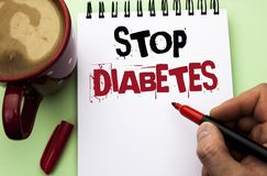 Word writing text Stop Diabetes. Business concept for Take care of your Sugar Levels Healthy Diet Nutrition Habits written by Man stock photos