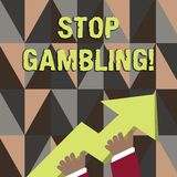 Word writing text Stop Gambling. Business concept for stop the urge to gamble continuously despite harmful costs photo. Word writing text Stop Gambling. Business vector illustration
