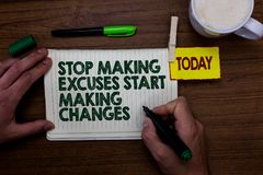 Word writing text Stop Making Excuses Start Making Changes. Business concept for Do not give an excuse Act instead Man holding mar. Ker notebook clothespin royalty free stock photo