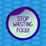 Word writing text Stop Wasting Food. Business concept for organization works for reduction food waste in society Bottle. Packaging Blank Lid Carton Container royalty free illustration