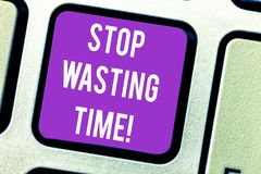 Word writing text Stop Wasting Time. Business concept for doing something that unnecessary does not produce benefit Keyboard key. Intention to create computer stock photography
