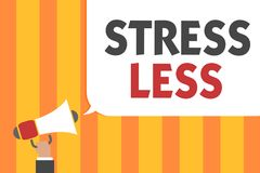 Word writing text Stress Less. Business concept for Stay away from problems Go out Unwind Meditate Indulge Oneself Man holding meg. Aphone loudspeaker speech stock photos