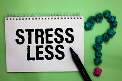 Word writing text Stress Less. Business concept for Stay away from problems Go out Unwind Meditate Indulge Oneself Notebook marker. Crumpled papers forming royalty free stock images