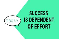 Word writing text Success Is Dependent Of Effort. Business concept for Make effort to Succeed Stay Persistent.  royalty free illustration