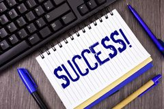 Word writing text Success Motivational Call. Business concept for Achievement Accomplishment of some purpose written on Notepad on. Word writing text Success Stock Photo