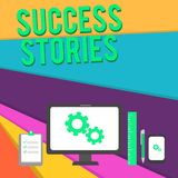 Word writing text Success Stories. Business concept for life of rule models from how he started to his death Business. Word writing text Success Stories stock illustration