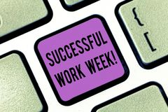 Word writing text Successful Work Week. Business concept for productive and satisfying working days in a week Keyboard. Key Intention to create computer message stock images