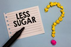 Word writing text Less Sugar. Business concept for Lower volume of sweetness in any food or drink that we eat Paper marker crumple. D papers forming question Royalty Free Stock Photo