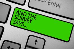 Word writing text And The Survey Says.... Business concept for doing poll and bring the results discuss with others Keyboard green stock photography