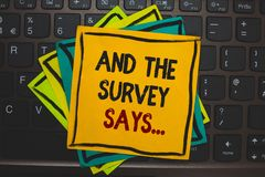 Word writing text And The Survey Says.... Business concept for doing poll and bring the results discuss with others Multiple colou. R sticky border cards stock images