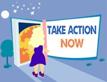 Word writing text Take Action Now. Business concept for asking someone to start doing Good performance Encourage.  vector illustration