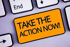 Word writing text Take The Action Now Motivational Call. Business concept for Act Start Promptly Immediate Instantly Silvery keybo. Ard yellow button two arrow royalty free stock photography