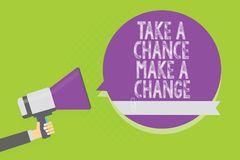 Word writing text Take A Chance Make A Change. Business concept for dont lose opportunity to reach bigger things Man holding megap. Hone loudspeaker purple royalty free illustration