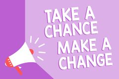 Word writing text Take A Chance Make A Change. Business concept for dont lose opportunity to reach bigger things Megaphone loudspe. Aker purple background stock illustration