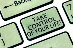 Word writing text Take Control Of Your Life. Business concept for Be the analysisager of your destiny motivation. Keyboard key Intention to create computer royalty free stock photos
