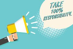 Word writing text Take 100 Responsibility.. Business concept for be responsible for list of things objects to do Man holding megap. Hone loudspeaker speech vector illustration