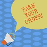 Word writing text Take Your Order. Business concept for Service in a restaurant caf or any other food place Megaphone. With Sound Volume Icon and Blank Color stock illustration