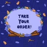 Word writing text Take Your Order. Business concept for Service in a restaurant caf or any other food place Wreath Made. Of Different Color Seeds Leaves and royalty free illustration