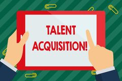 Word writing text Talent Acquisition. Business concept for process of finding and acquiring skilled huanalysis labor. Word writing text Talent Acquisition royalty free stock photo