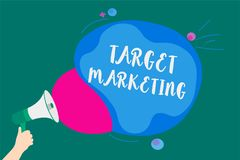 Word writing text Target Marketing. Business concept for Audience goal Chosen clients customers Advertising Convey message idea sp. Eaker alarm announcement stock illustration