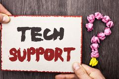 Word writing text Tech Support. Business concept for Help given by technician Online or Call Center Customer Service written on Ca. Word writing text Tech Royalty Free Stock Images